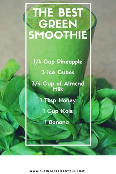 Yummiest Green Smoothie Ever The Best Green Smoothie Recipe!The Best Green Smoothie Recipe! Fruit Smoothies, Easy Green Smoothie Recipes, Best Green Smoothie, Healthy Green Smoothies, Protein Smoothies, Weight Loss Smoothies, Healthy Drinks, Detox Drinks, Detox Juices