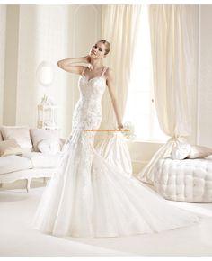 Moderne rückenfrei Brautkleider aus Satin mit Schleppe