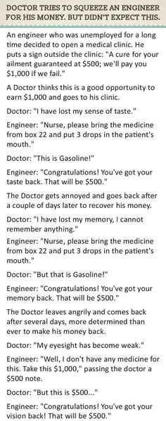 Doctor Tries To Squeeze An Engineer For His Money But Didn't Expect This. funny jokes story lol funny quote funny quotes funny sayings joke hilarious humor stories doctor funny jokes engineer enigineers
