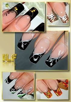 Trendy nails black french tip beauty 64 ideas French Nail Art, French Tip Nails, French Tips, Beautiful Nail Designs, Beautiful Nail Art, Fabulous Nails, Gorgeous Nails, Stylish Nails, Trendy Nails