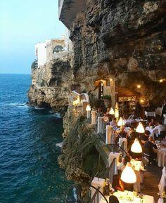 Dinner in the rocks at @ristorantegrottapalazzese ~ Polignano, Puglia, Italy Phot