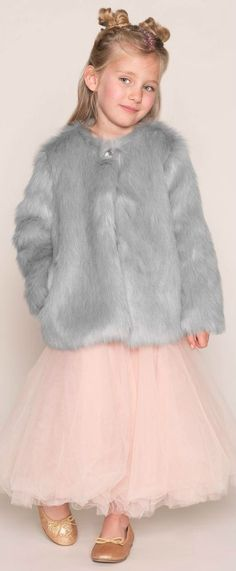 .ANGEL'S FACEGirls Grey Fur Jacket & Pink Tulle Skirt. Girls will be cosy, warm and fabulous in this synthetic fur jacket by Angel's Face. Complete look with the Pink Tulle Skirt.  Perfect vintage style party coat & dress for a little princess at any special occasion or night out on the town. Pretty Style for for stylish kid, tween and teen girls. #kidsfashion #fashionkids #girlsdresses #childrensclothing #girlsclothes #girlsclothing #girlsfashion #cute #girl #kids #fashion #flowergirl