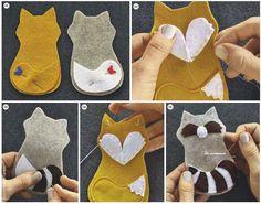 DIY-Anleitungen DIY: Waldtiere aus Filz aus der Mollie Makes Mollie Makes, Baby Crafts, Felt Crafts, Kids Crafts, Felt Mobile, Baby Mobile, Sewing Crafts, Sewing Projects, Sewing Diy