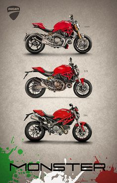Ducati Monster Trio Art Print by Mark Rogan. All prints are professionally printed, packaged, and shipped within 3 - 4 business days. Diavel Ducati, Ducati 1299 Panigale, Retro Motorcycle, Scrambler Motorcycle, Monster Co, Monster Garage, Ducati Monster Custom, Moto Ducati, Cafe Racer Honda