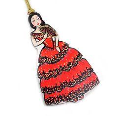 Christmas Ornament  Spanish Dancer  flamenco inspired by beesocks, $15.00