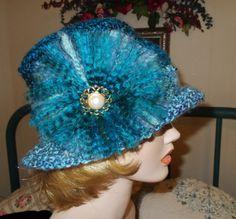 Crochet Fashion Hat Retro Fadora   Focal Vintage by RedBudCrafts, $50.00