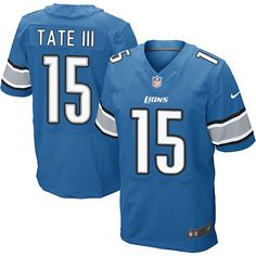Nike Elite Golden Tate III Light Blue Men s Jersey - Detroit Lions  15 NFL  Home 4d7ab2be9