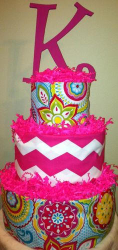 Baby Girl Diaper Cake, Girl 3 Tier Diaper Cake, Shower Centerpiece, Pink Multi Print, Pink Chevron with Wooden letter (optional monogram)