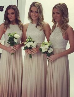 Long Bridesmaid Dresses,Sleeveless Bridesmaid Gowns,Chiffon Bridesmaid Dresses,Lace Bridesmaid Dresses,Long Prom Dresses,Simple Prom Dresses,Elegant Brdiesmaid Dresses,2017 Prom Dresses, Cheap Bridesmaid Dresses