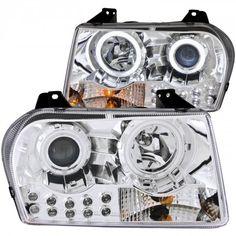 Anzo 121136   2005 Chrysler 300 Chrome/Clear Halo Projector Headlights for Sedan