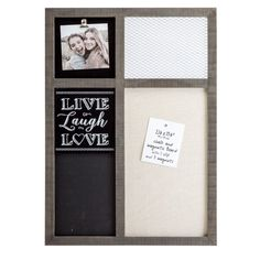 Prinz X X Inch Sullivan Pallet 'Live Laugh Love' Memo Board with Clip, Chalkboard, & Wire Mesh Best Price Mirrored Picture Frames, Goal Board, Picture Boards, Magnetic Wall, Framed Chalkboard, Collage Frames, Wire Mesh, Dry Erase Board, Live Laugh Love