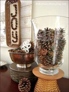 Pine Cones and Snowflakes ~ Winter Decor   The Week at a Glance 1/4