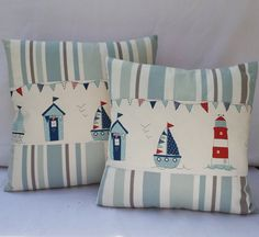 Beach Huts Oblong Pillow Cover 20x12 Lumber Cushion por FullColour