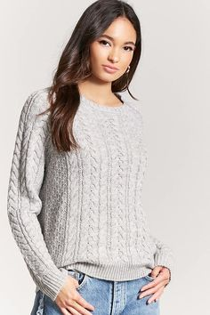 FOREVER 21 Cable Knit Sweater, 2 colors $24.90 A cable knit sweater featuring a round neckline, long raglan sleeves, and a ribbed trim.
