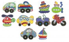 Getting around transportation cute cars trucks and helicopter applique machine embroidery designs