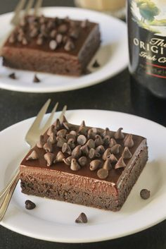 Irish Cream Brownies are super rich and fudgy. A delicious Bailey's spiked ganache takes them over the top!