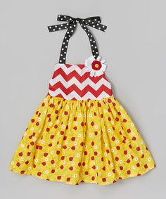 Look what I found on #zulily! Yellow Daisy Ladybug Halter Dress & Pin - Infant, Toddler & Girls #zulilyfinds