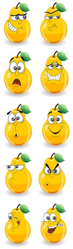 A Cute Cartoon Pear Expressions Vector