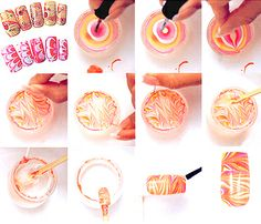 Hot Nail Trends  Water Marble Nails  Apply this paper painting technique to your nails! You literally create a film of marbled polish on water, then dip your nail to pick up the swirls of color. Why do we love it? Each print is unique and unrepeatable! Check out this tutorial from Casual Lavish or this video from pladatudinous.    Photo: oceasia.com.au