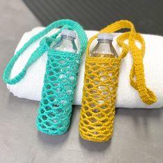 Bottle holder Knit Or Crochet, Crochet Hooks, Free Crochet, Selling Crochet, Bottle Bag, Water Bottle, Crochet Purses, Crochet Bags, Mint