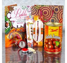 Gift Bag of Two Rakhis and Gulab Jamun with Laxmi Ganesh Coin and Card