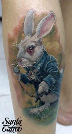 Alice in wonderland tattoo Alice In Wonderland Rabbit, Alice And Wonderland Tattoos, White Rabbit Tattoo, Rabbit Tattoos, Disney Sleeve Tattoos, Disney Tattoos, Funny Tattoos, Cool Tattoos, Tatoos