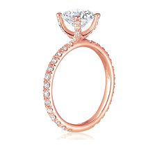Eternity Style Rose Gold Engagement Ring. #UniqueEngagementRing