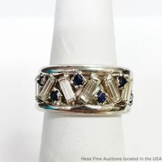 Wide Fine Diamond Natural Sapphire 14K White Gold New W Tags Cool Baguette Ring  #Band