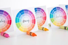 Color wheel place cards are adorable for an art themed Bar or Bat Mitzvah.