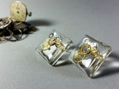 Steampunk Solid Sterling Silver Glass Ball /& Watchpart Earrings in Gift Tin