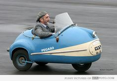 Hipster grandpa - Funny old man smoking a pipe while riding a three-wheel vintage car like a hipster.