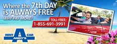 Andy's Car rental offer The Lowest rates in the cayman Islands & Your 7th Day is Always Free
