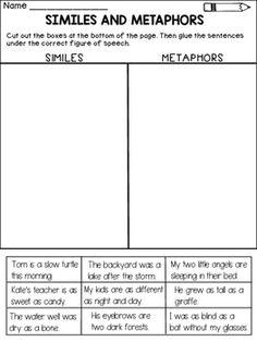 Figurative Language - Similes and Metaphors | Simile, Worksheets ...