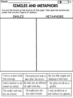 Similes and Metaphors:This product contains 4 worksheets that ask the students to distinguish between similes and metaphors.Included:* Similes or Metaphors? Color the box with the correct figure of speech (2 pages)* Cut and paste the sentences under the correct figure of speech ( simile or metaphor)* Similes and metaphors - assessment pageHappy teaching!Quality Learning ResourcesSimiles / Metaphors / Figures of Speech / Similes and Metaphors