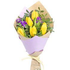 Тюльпаны-5шт., Статица-2шт., зелень, упаковка, лента.