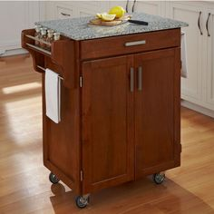 Mix and Match Cuisine Cart Cabinet w/ Dark Cottage Oak Stain and Grey Granite Top by Home Styles