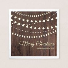 Merry Christmas with String of Lights Paper Napkin