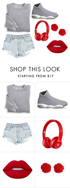 """""""Gray&Red"""" by lordenique ❤ liked on Polyvore featuring Blair, NIKE, Beats by Dr. Dre and Lime Crime"""
