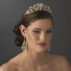 Stress Away Bridal Jewelry BoutiqueGold Ivory Floral Bridal Tiara