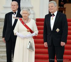 The Queen and The Duke of Edinburgh with President Gauck prior to the State Banquet at Bellevue Palace, 24 June 2015.