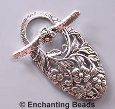 Large Floral Sterling Silver Toggle Clasp 42797 by EnchantingBeads, $21.00