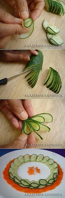 Here's how to carve and decorate fruit. 45 simple examples, but real … - Obst Veggie Art, Fruit And Vegetable Carving, Fruit Decorations, Food Decoration, Deco Fruit, Food Garnishes, Garnishing Ideas, Food Carving, Snacks Für Party