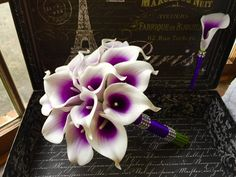 White Purple Center Calla Lily Wedding Bouquet with Boutonniere Real Touch Purple White Bouquet Calla Lily Bouquet Purple Bridesmaid (85.99 USD) by SilkFlowersByJean