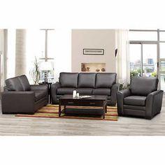 Radisson Brown 3 Piece Top Grain Leather Living Room Set