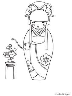 coloriage poupee japonaise numero 17