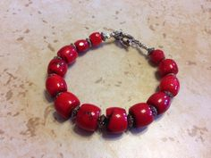 Chunky red coral bracelet on Etsy, $18.00