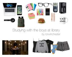 """""""studying with the boys at library"""" by lorwinchester on Polyvore featuring moda, Warehouse, Ray-Ban, Five Star, Cuisinart, JanSport, Barbour e Beats by Dr. Dre"""
