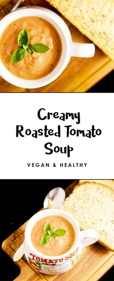 A healthy soup recipe that can be used for work or served up at home for lunch or dinner.  Vegan Creamy Tomato Soup, dairy/gluten free and delicious.