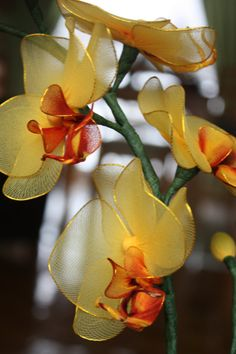 Nylon Flower Orchid Golden Yellow flower by TheCallendersFlowers, $30.00