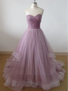 Dusty Pink Prom Dresses Sweetheart A Line Tulle